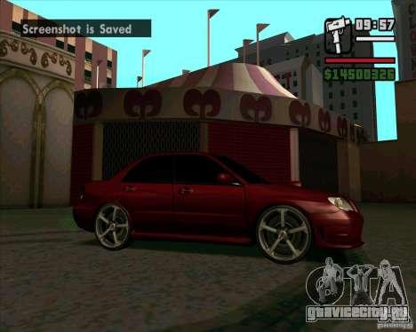 Subaru Impreza tuning для GTA San Andreas вид слева