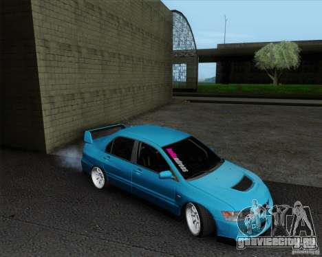 Mitsubishi Lancer Evolution VIII JDM Style для GTA San Andreas вид сзади слева