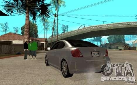 Scion tC - Stock для GTA San Andreas вид сзади слева