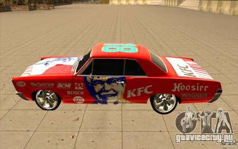 Pontiac GTO 1965 NFS Pro Street с новыми винилам для GTA San Andreas вид сверху