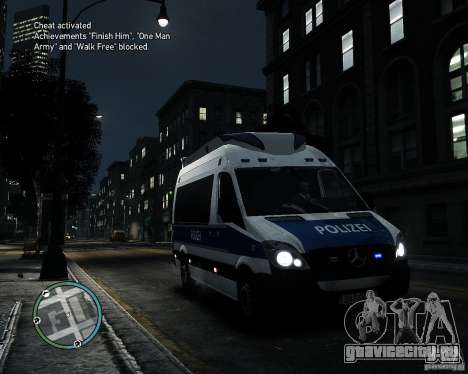 Mercedes Sprinter German Police для GTA 4 вид слева