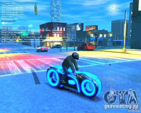 Мотоцикл из Трон (синий неон) для GTA 4 вид справа