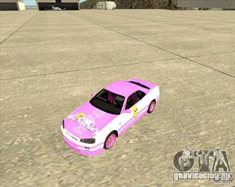 Nissan Skyline R34 Mr.SpaT для GTA San Andreas вид сзади слева
