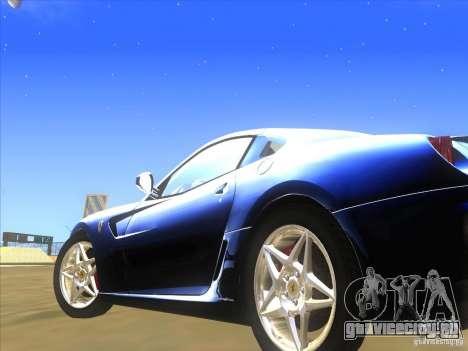 Ferrari 599 GTB Fiorano для GTA San Andreas вид изнутри