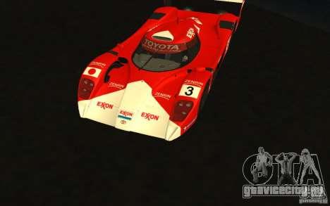 Toyota GT-One TS020 для GTA San Andreas вид изнутри
