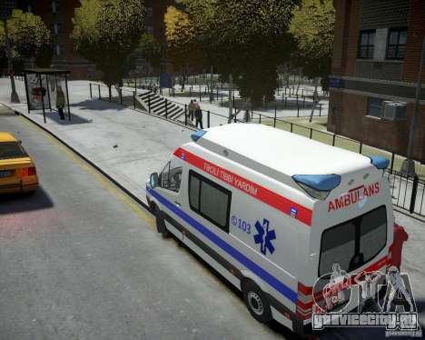 Mercedes-Benz Sprinter Azerbaijan Ambulance v0.2 для GTA 4 вид сзади слева