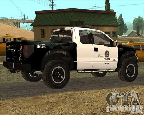 Ford Raptor Police для GTA San Andreas вид сзади слева