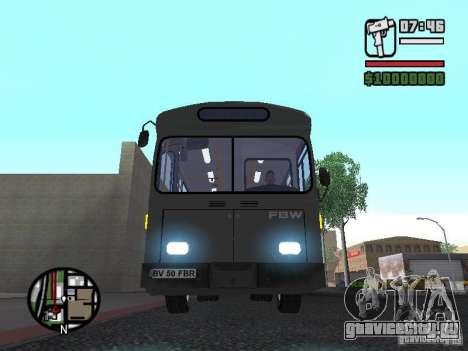 FBW Hess 91U для GTA San Andreas вид изнутри