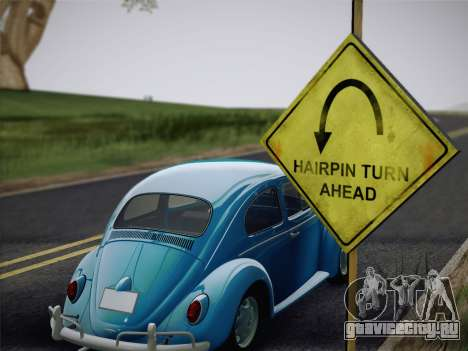 Volkswagen Beetle 1967 V.1 для GTA San Andreas вид сзади