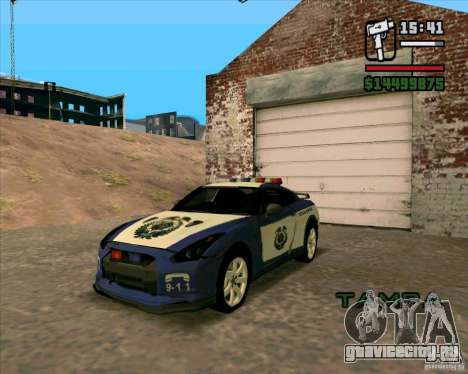 Nissan GTR35 Police Undercover для GTA San Andreas вид сзади слева