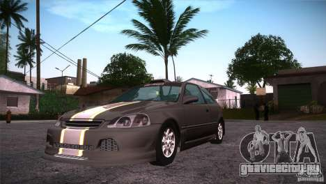 Honda Civic Tuneable для GTA San Andreas вид изнутри