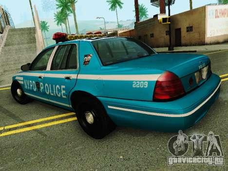 Ford Crown Victoria 2003 NYPD Blue для GTA San Andreas вид сзади слева