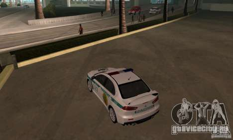 Mitsubishi Lancer Evolution X Полиция Казахстана для GTA San Andreas вид изнутри