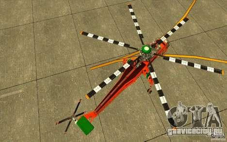 Sikorsky Air-Crane S-64E для GTA San Andreas вид справа