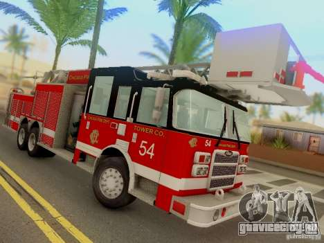 Pierce Tower Ladder 54 Chicago Fire Department для GTA San Andreas вид сзади