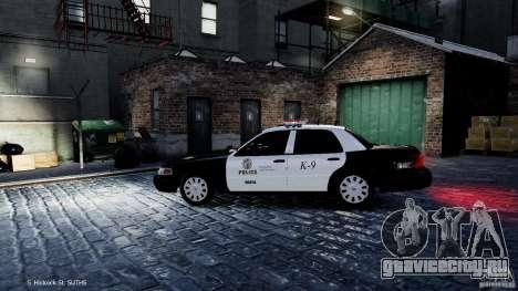 Ford Crown Victoria CVPI-K9 V6.9A-LAPD-ELS для GTA 4 вид слева.