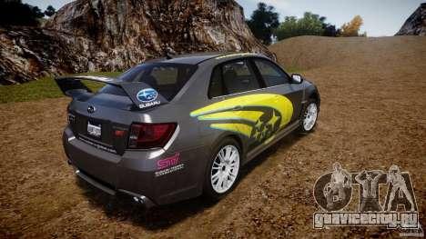 Subaru Impreza WRX STi 2011 Subaru World Rally для GTA 4 вид сзади слева