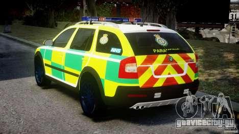 Skoda Octavia Scout Paramedic [ELS] для GTA 4 вид сзади слева
