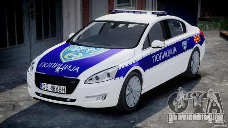 Peugeot 508 Macedonian Police [ELS] для GTA 4 вид сзади