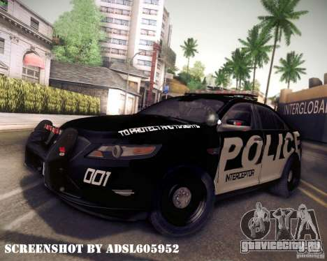 Ford Taurus Police Interceptor 2011 для GTA San Andreas вид сзади слева