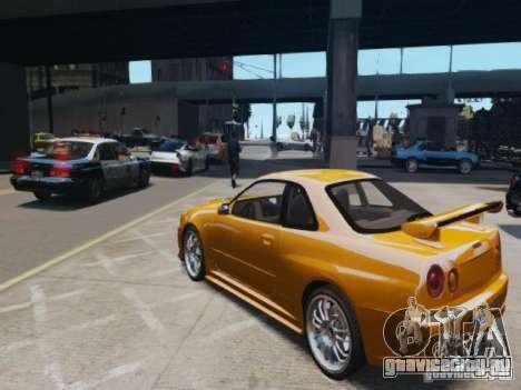Nissan Skyline GT-R R34 Fast and Furious 4 для GTA 4 вид сзади слева