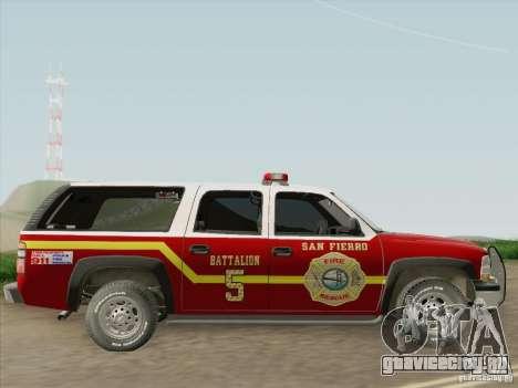 Chevrolet Suburban SFFD для GTA San Andreas вид сзади