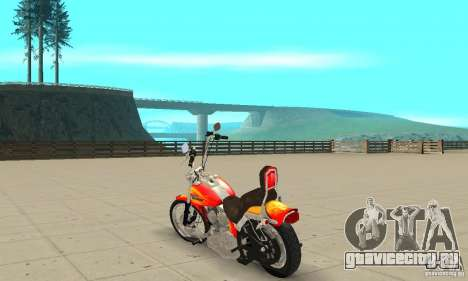 Harley Davidson softail Skin 2 для GTA San Andreas вид сзади слева