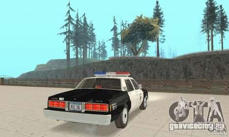 Chevrolet Caprice Interceptor 1986 Police для GTA San Andreas вид сзади слева