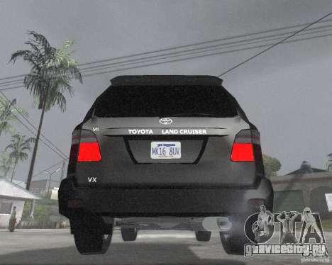 Toyota Land Cruiser 100 VX для GTA San Andreas вид сзади слева