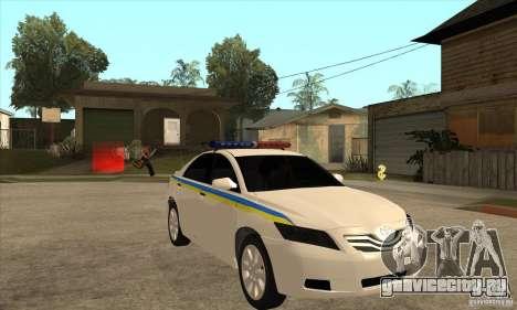 Toyota Camry 2010 SE Police UKR для GTA San Andreas вид сзади