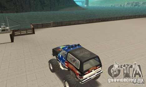 Chevrolet Blazer K5 Monster Skin 3 для GTA San Andreas вид сзади слева