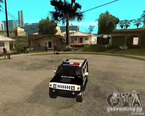 AMG H2 HUMMER SUV SAPD Police для GTA San Andreas вид изнутри