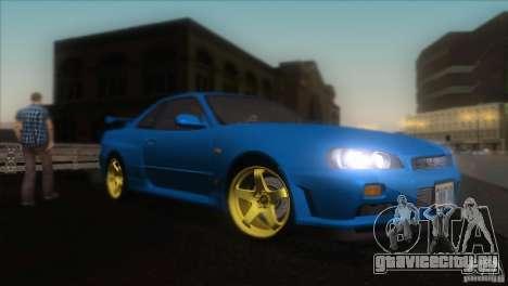 Nissan Skyline GTR-34 для GTA San Andreas вид изнутри