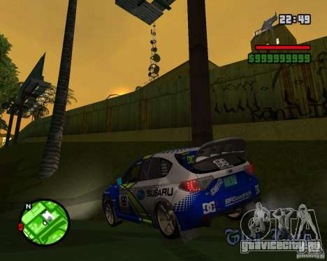 DiRT 2 Subaru Impreza WRX STi для GTA San Andreas вид сзади слева