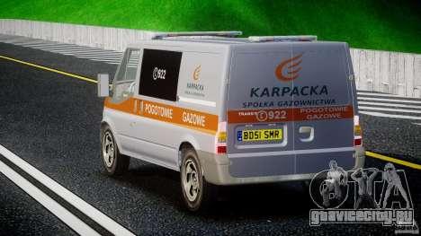 Ford Transit Usluga polski gazu [ELS] для GTA 4 вид сзади слева