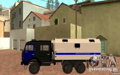 КамАЗ Милиция для GTA San Andreas вид сзади слева