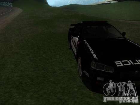Nissan Skyline R34 Police для GTA San Andreas вид сзади