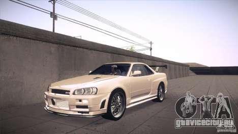 Nissan Skyline R34 для GTA San Andreas вид снизу