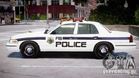 Ford Crown Victoria 2003 FBI Police V2.0 [ELS] для GTA 4 вид сзади слева