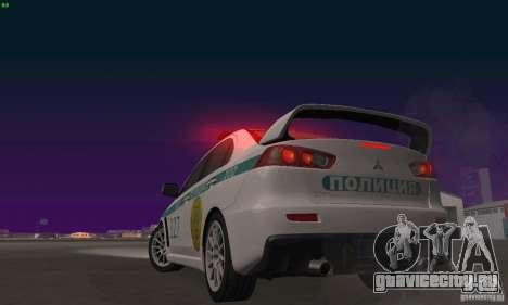 Mitsubishi Lancer Evolution X Полиция Казахстана для GTA San Andreas вид сбоку