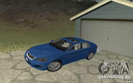 Lexus IS-F v2.0 для GTA San Andreas вид изнутри