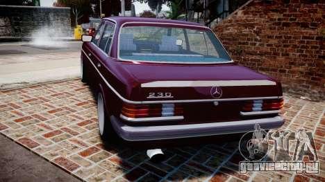 Mercedes-Benz 230E 1976 Tuning для GTA 4 вид сзади слева