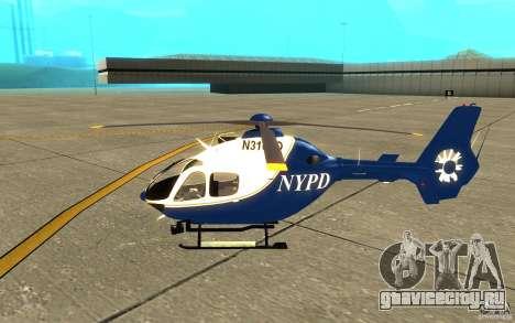 NYPD Eurocopter By SgtMartin_Riggs для GTA San Andreas вид сзади слева
