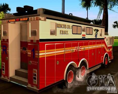Pumper Firetruck Pierce F.D.N.Y для GTA San Andreas вид слева