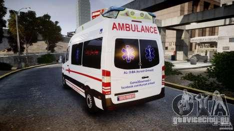Mercedes-Benz Sprinter Iranian Ambulance [ELS] для GTA 4 вид сзади слева
