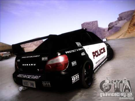Subaru Impreza WRX STI Police Speed Enforcement для GTA San Andreas вид сверху