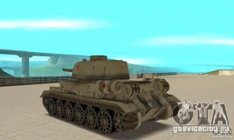 Танк T-34-85 для GTA San Andreas вид сзади слева