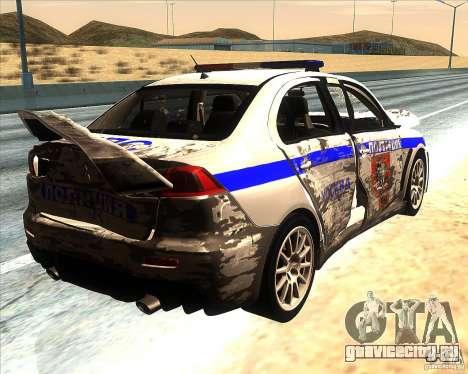 Mitsubishi Lancer Evolution X ППС Полиция для GTA San Andreas двигатель