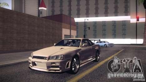 Nissan Skyline R34 для GTA San Andreas вид изнутри