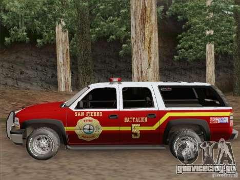 Chevrolet Suburban SFFD для GTA San Andreas вид изнутри
